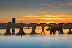 Guadiana River in Badajoz with bridges. Stock Images