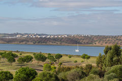 Guadiana River the border of Portugal and Spain Stock Images