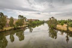 Guadiana River in Merida, Spain. Photo taken from the Roman Bridge of Merida Stock Images