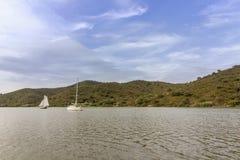 Guadiana rzeka granica Portugal i Hiszpania przy wschodnim Algarve Obrazy Royalty Free
