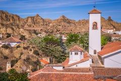 Guadix byar i landskapet av Granada Andalucia som är sydligt Arkivfoton