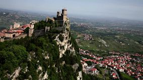 Guaita, City of San Marino, Republic of San Marino. The first, oldest and most famous of the three towers. It was constructed in the 11th century and served stock video footage