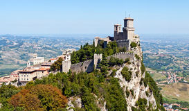 Guaita fortress. Scenic view of Guaita fortress on Monte Titano with San Marino city in background Stock Photography