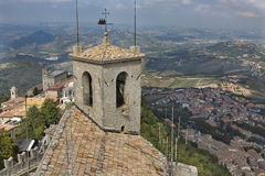Guaita fortress bell tower in San Marino. Royalty Free Stock Photos