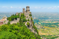 The Guaita fortress on Monte Titano. In San Marino. The main of three medieval towers which is symbol of San Marino Stock Images