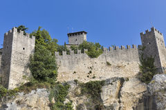 Guaita fortress, oldest and most famous tower on San Marino. Royalty Free Stock Image