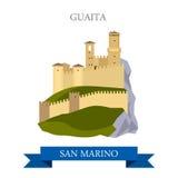 Guaita San Marino Europe flat vector attraction sight landmark. Guaita in San Marino. Flat cartoon style historic sight showplace attraction web site vector royalty free illustration