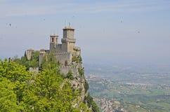 Guaita, una di tre torri di San Marino immagine stock libera da diritti