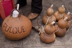 Guajes met pulque in Mexico stock afbeelding