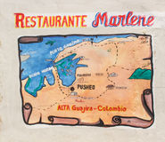Guajira peninsula. Map of our trip on a restaurant wall in Colombia Royalty Free Stock Images