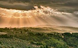 Gualdo Cattaneo, Perugia, Umbrien, Italien: Landschaft am Morgen Stockfotos