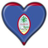 Guam button flag heart shape Stock Photo