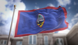 Guam Flag 3D Rendering on Blue Sky Building Background Stock Photo