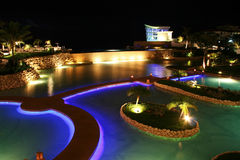 Guam Resort at night. Night time pool side shot of a hotel resort in Guam Royalty Free Stock Photos