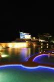 Guam Resort at night. Night time pool side vertical shot of a hotel resort in Guam Stock Image