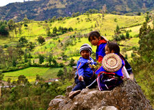 Guambiano native children, Colombia Royalty Free Stock Images
