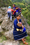 Guambino Indian Family, Colombia royalty free stock photography
