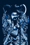 Guan Gong Chinese God of War. In Blue Royalty Free Stock Photo