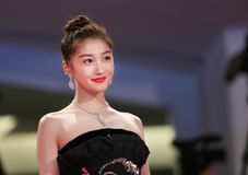 Guan Xiaotong walks the red carpet Royalty Free Stock Photo