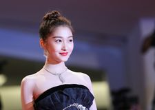 Guan Xiaotong walks the red carpet Stock Images