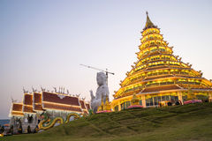 Guan Yim giant statue with dragon stairs in Thai temple under tw Stock Photography