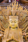 Guan Yin. Thousand hands wooden carved Stock Photography