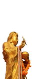 Guan Yin. Gold color paint Guan Yin statue stock photography