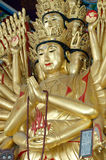 Guan Yin. Gold Thousand-hand Royalty Free Stock Images