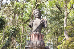 Guan Yin mahayana Buddhism in forest temple Royalty Free Stock Images