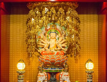 Guan yin sculpture in buddha tooth relic temple singapore Royalty Free Stock Images