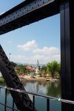 Guan Yin statue as seen from River Kwai Bridge. Guan Yin statue at a Chinese Buddhist temple as seen from River Kwai Bridge Stock Images