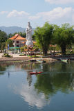 Guan Yin Statue at a Chinese Buddhist temple on the bank of River Kwai. Kanchanaburi, Thailand royalty free stock photography