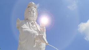Guan Yin Statue On Nice Sky And Lighting Effect Royalty Free Stock Photo