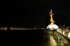 Guan Yin Statue at night, Macau Stock Photo