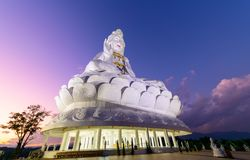 Guan Yin Statue with twilight at Wat huay pla kang temple. Chinese temple in Chiang Rai Province,Thailand Stock Images