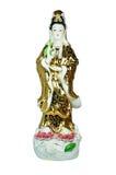 Guan Yin staty på vit bakgrund Royaltyfria Bilder