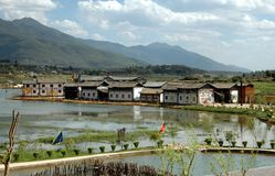 Guan Yin Xia, China: Village and Rice Paddies. A row of whitewashed houses line a single street next to a series of flooded rice paddies overlooked by distant Royalty Free Stock Photography