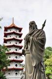Guan Yu y pagoda china Foto de archivo libre de regalías