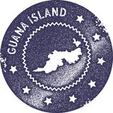 Guana Island map vintage stamp. Retro style handmade label, badge or element for travel souvenirs. Deep purple rubber stamp with island map silhouette. Vector Royalty Free Stock Image