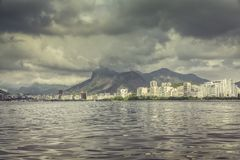 Guanabara Bay with dark clouds,Rio de Janeiro Royalty Free Stock Photos