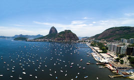 Guanabara Bay and the famous Sugarloaf Mountain in Rio de Janeiro, Brazil Stock Images