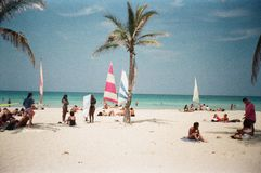 Guanabo Beach in La Habana / Cuba. Beach Scene with Surfer Stock Photos