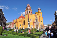 Guanajuato City. Image of the Basilica of our Lady of Guanajuato, this cathedral is the most important church in the city, here you can see it wuth many tourists Stock Images