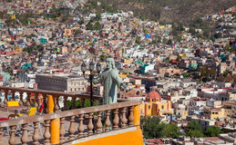 Guanajuato City of Mexico with Colorful Buildings and Christ Statue Overlooking the Buildings Royalty Free Stock Photography