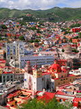 Guanajuato downtown. Aerial view of the main buildings of guanajuato in mexico Stock Image