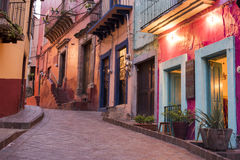 Guanajuato historic city centre at night colorful street view Royalty Free Stock Photography