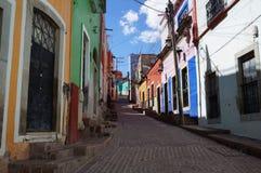 Guanajuato Mexico November 2017, colourful colonial street in the town`s center. Colonial street in the center of Guanajuato in Mexico. Empty street, colourful royalty free stock photos