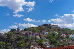 Guanajuato Mexico skyline view with blue sky. And clouds royalty free stock photo