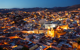 Guanajuato nights. Colorful view of the city of Guanajuato at night, Mexico Royalty Free Stock Photography