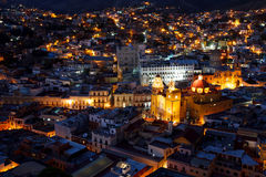 Guanajuato nights. Colorful view of the city of Guanajuato at night, Mexico Stock Photos